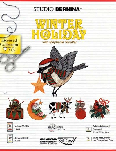 BROTHER WINTER HOLIDAY 776 Cartes / cd de broderies 2417