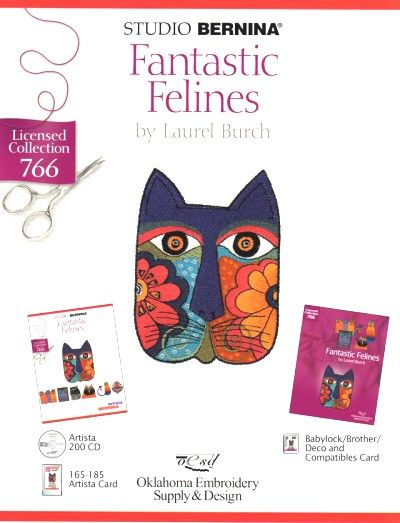 BERNINA FANTASTIC FELINES 766 Cartes / cd de broderies 5394